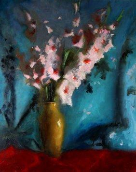 O/m Still Life Gladiolas, William Harnden