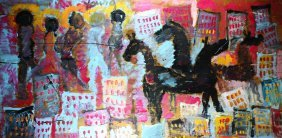 P/p, Cityscape With Horses, Purvis Young, Miami