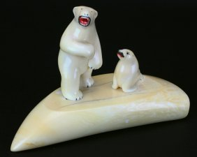 Whale Tooth Carving, Polar Bear And Seal
