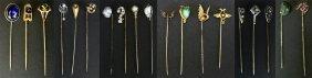 (19) Stick Pins, Gold, Diamonds, Gem Stones