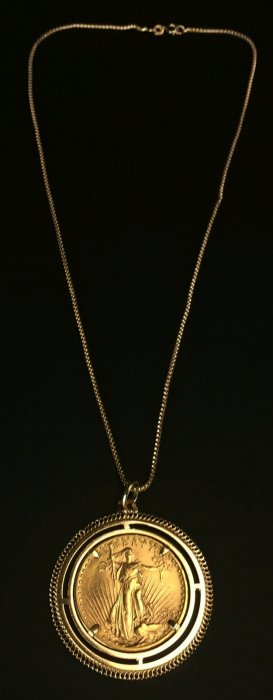 Necklace, $20 St Gaudens Gold Coin, Ms40