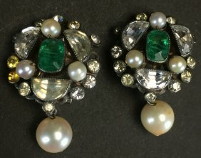 Clip-on Earrings, Silver, Emerald, Pearl