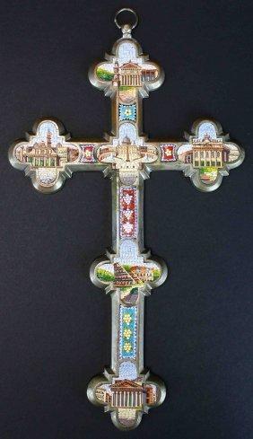 Crucifix, Plated Brass, Micro-mosaic, 1892