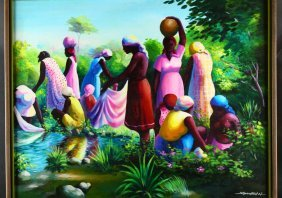 """O/c """"ladies By River"""", By Simeon Michel"""