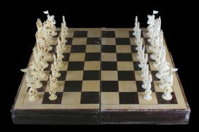 Ivory Chess Set With Case