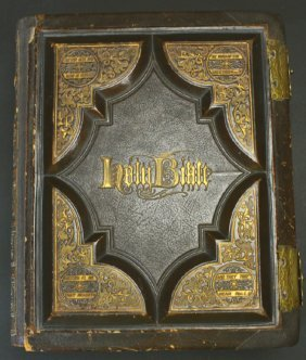 Leather Bound Family Bible, Brass Hinges,1873