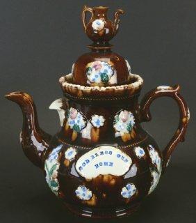 Barge Ware Teapot W Teapot Finial, Measham