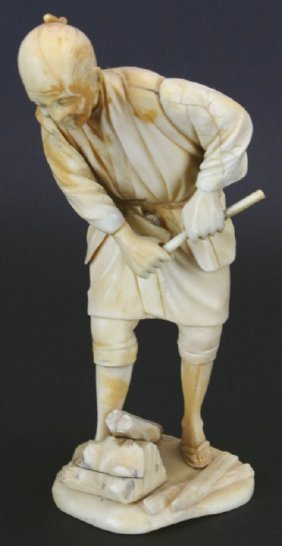 Japanese Ivory Carving, Man And Firewood, Signed
