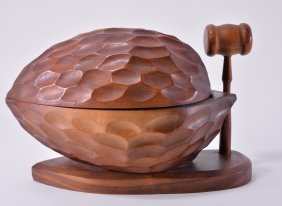 Large Wooden Carved Nut W/mallet