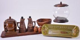 14 Pcs Ceramic & Wood Servers