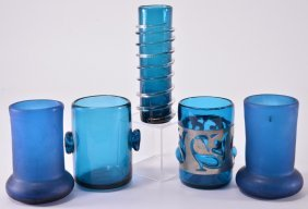 Vintage Spanish Teal Handblown Vases & Glasses