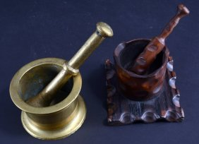 Handcarved And Solid Brass Mortar And Pestils