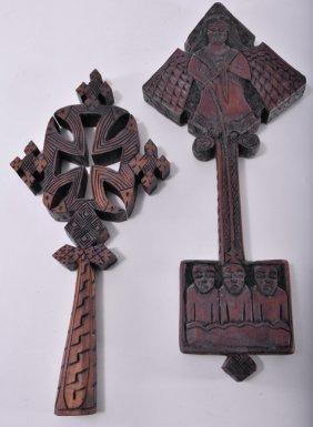 Two Vintage Wooden Ethiopian Crosses