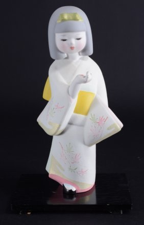 Oriental Hakata Doll On Stand