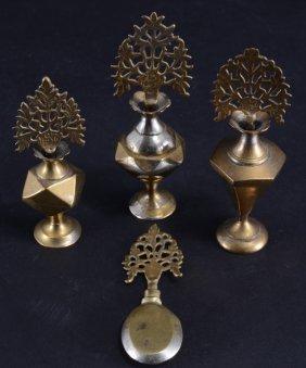 4 Vintage Miniature Asian Brass Perfume Bottles