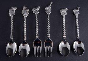 Six Forks & Spoons W/animal & Bird Finials