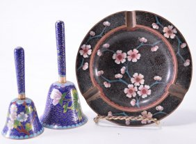 Two Cloisonné Bells And Ashtray