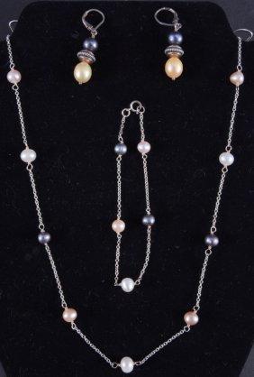 Sterling & Pearl Necklace, Bracelet & Earrings