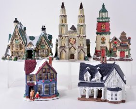 5 Lighted Christmas Village Buildings