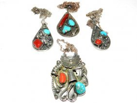 4 Sterling Indian Pendants & Necklace