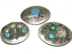 3 Native Indian Belt Buckles