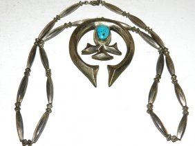 ESTATE -Squash Blossom Indian Necklace