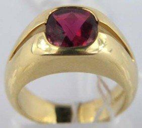 18K Yellow Gold Pink Tourmaline Ring