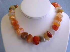 Carnelian Necklace With Silver Clasp