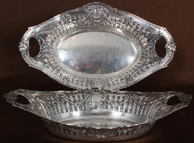 Pr German Silver Bread Baskets W/ Handles.