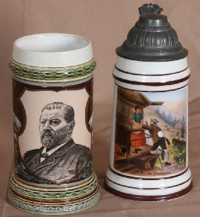 2 Mettlach 1/2 Liter Steins; One W/ Lithophane