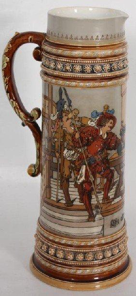 5 Liter Mettlach Incised Stein W/ Bar Scene #1578.