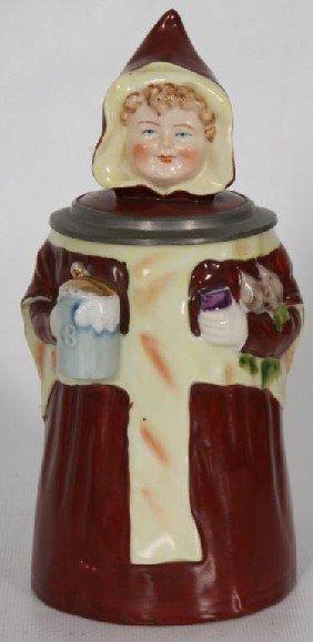 1/2 Liter Figural Beer Maiden Stein