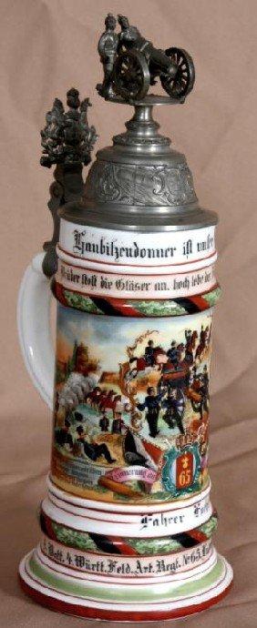 Regimental 1/2 Liter Lithophane German Stein.