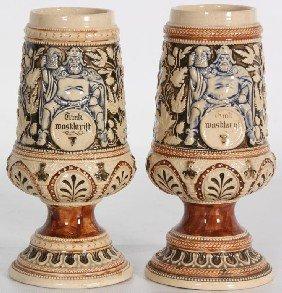 Pr German Relief Molded Vases.