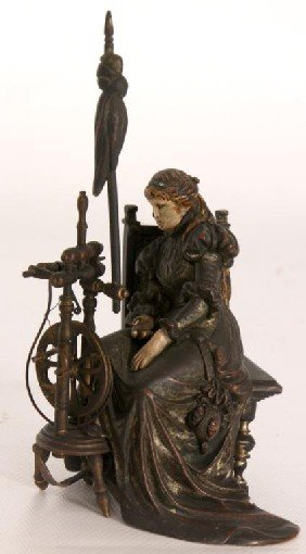 Austrian Cold Painted Bronze Woman Seated By A Fla