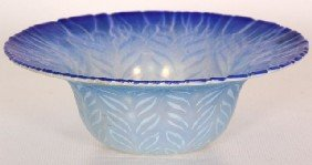Tiffany Favrile Blue Opalescent Feathered Bowl Tif