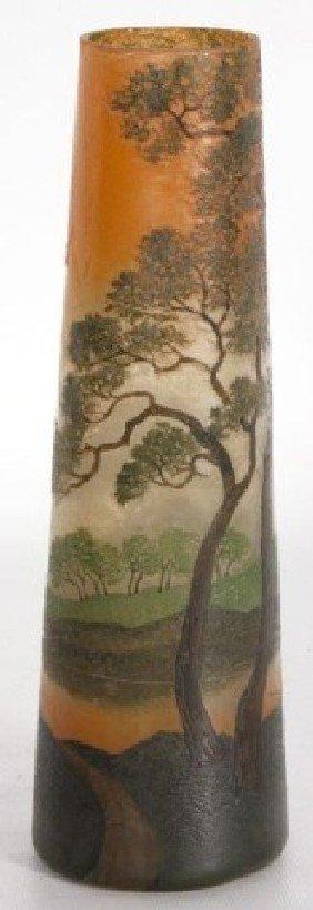 """11"""" LeGras Enameled Scenic Vase 11"""" LeGras Enamele"""