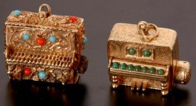 2 Gold & Enameled Mechanical Charms