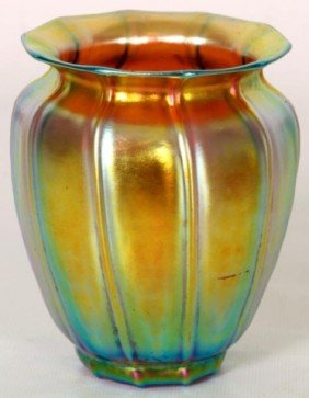 Quezal Bell Form Iridescent Vase