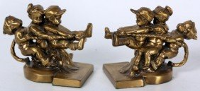Pr Figural Children Tug-of-War Bookends