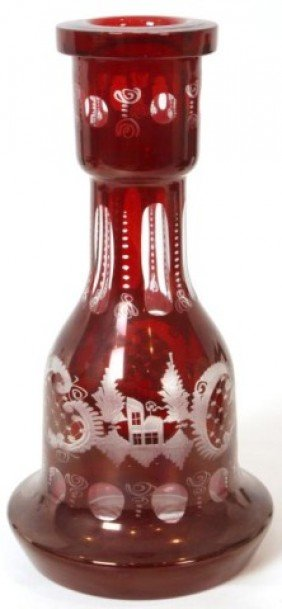 Cranberry Cut To Clear Bohemian Vase