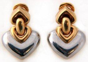 Pr. 18K Two Tone Gold Bvlgari Earrings