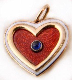 Russian Gold & Guilloche Heart Pendant W/ Sapphire