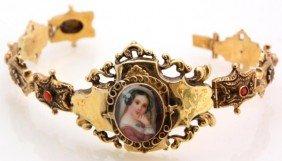 14K Gold Bracelet W/ Miniature Portrait & Corals