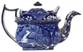 Blue Staffordshire Teapot