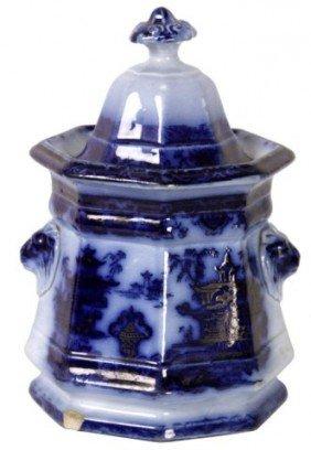 Flow Blue Staffordshire Sugar Bowl