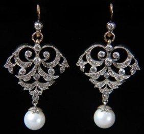 14K Russian Gold, Diamond & Pearl Earrings