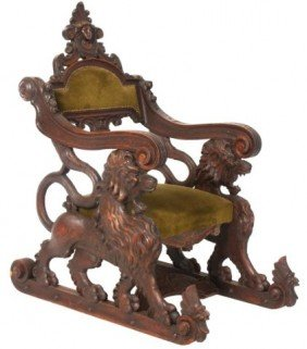 Carved Walnut Fantasy Lion Chair