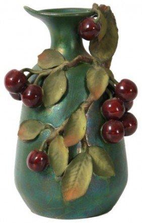 Large Amphora Vase W/ Cherries