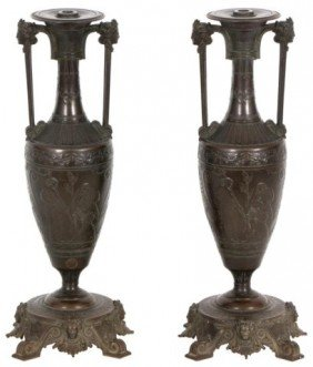 H. Cahieux - Barbedienne Bronze Urns